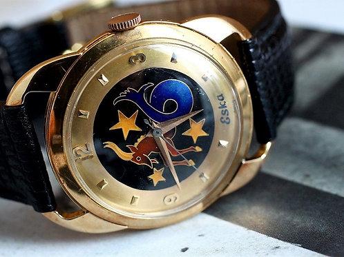 ESKA Cloisonne Dial Automatic Gold Watch