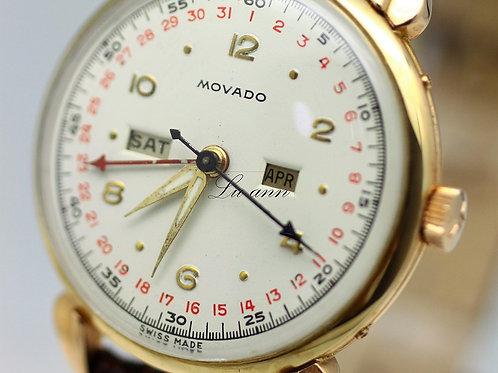 Vintage Movado Triple Date Calender Gold