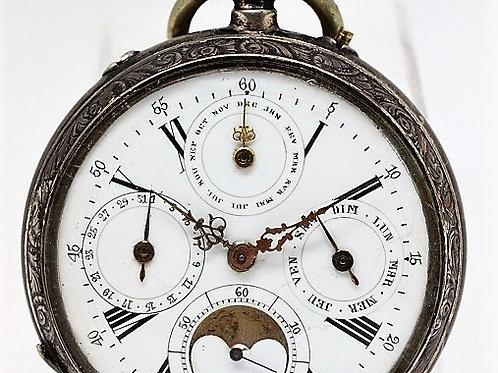 Franz Damback Annual Calendar Moonphase Pocket Watch