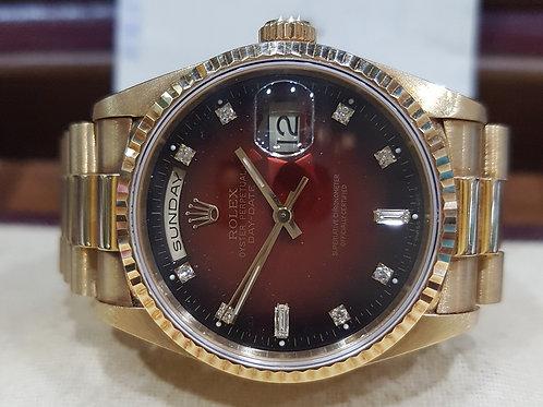 Rolex President 18K Gold Ref 18238 Diamond Burgardy Dial