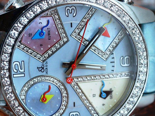 Jacob & Co. Five Time Zone Diamond Mother of Pearl Dial 40mm