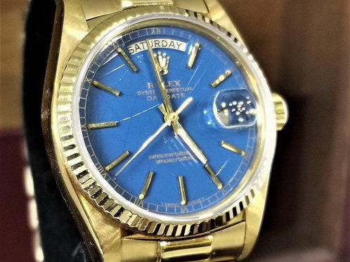Rolex DayDate 18238 Stella Blue Dial Full Set