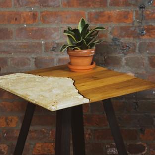 OAK & TRAVERTINE SIDE TABLE