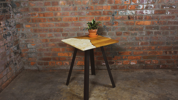 OAK & TRAVERTINE SIDE TABLE