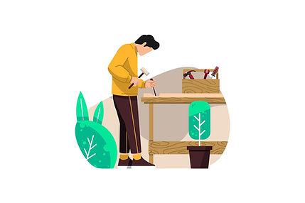 Carpenter Flat Vector Illustration AI, E