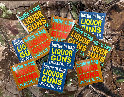 LIQUOR N GUNS STICKERS 4 X 4