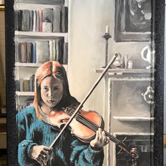 Tilly practising violin 2020 - not for sale