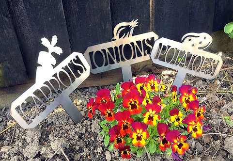 Set of 3 Garden Vegetable Signs