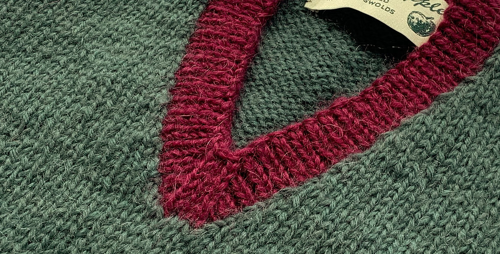 Moss tank top with mulberry trim