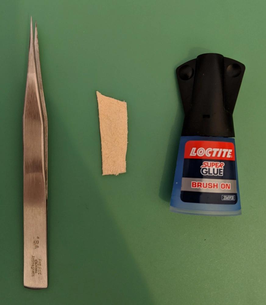 Unused Tweezers, Chamois Leather, Super Glue
