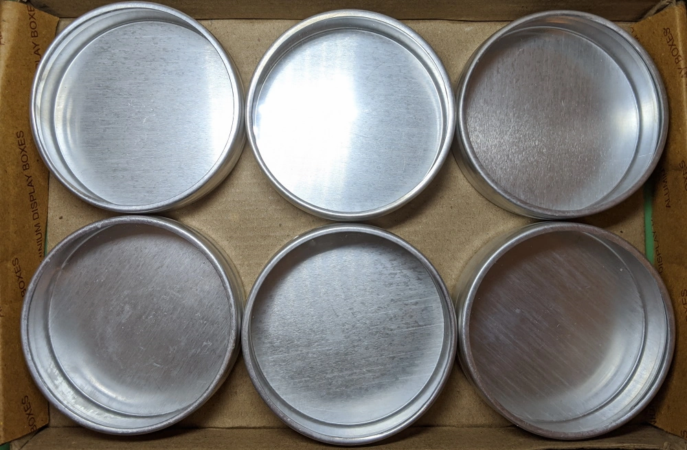 7.5cm Diameter Aluminium Pots in an Cardboard Box