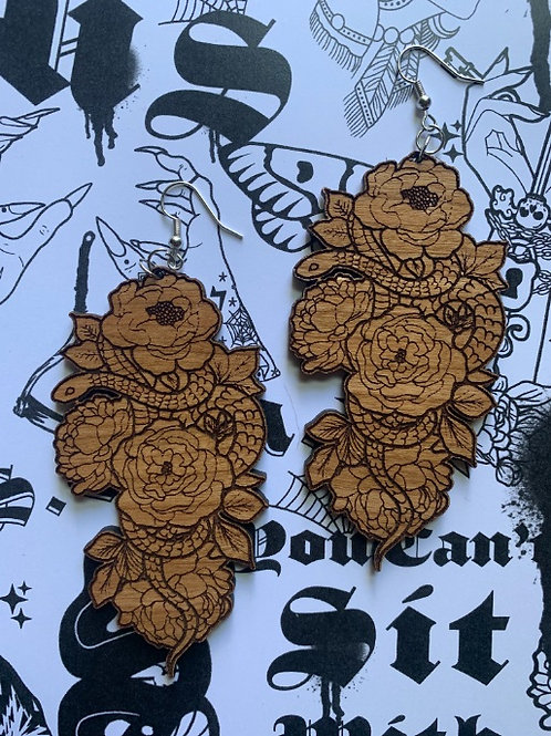 YeahRightOkayLaser Cut Wooden Flower and Snake Earrings - 10 Pack
