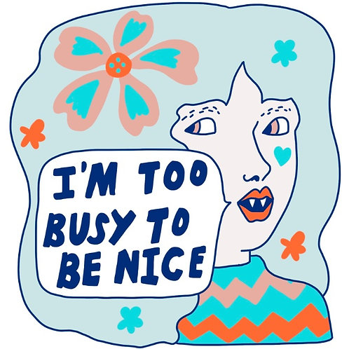 """""""Too Busy to Be Nice"""" Iron On Patch -10 Pack"""