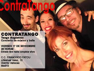 """17 de Noviembre, bailamos en el concierto de música y baile """"Contratango""""!"""