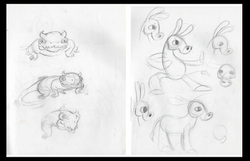Bull-lizard and Moose the Donkey designs
