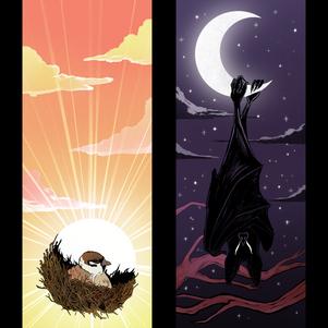 SUN AND MOON/ BIRD AND BAT DIPTYCH