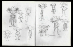 Iterations for Goblin Cowboy's design