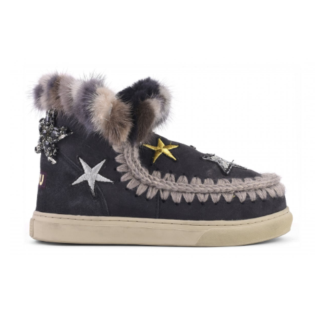 Mini eskimo sneaker Stars&mink Off black