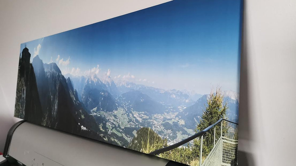 Large format panoramic canvases with floating frames
