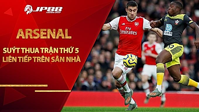 Arsenal suýt thua trận thứ 5 liên tiếp trên sân nhà