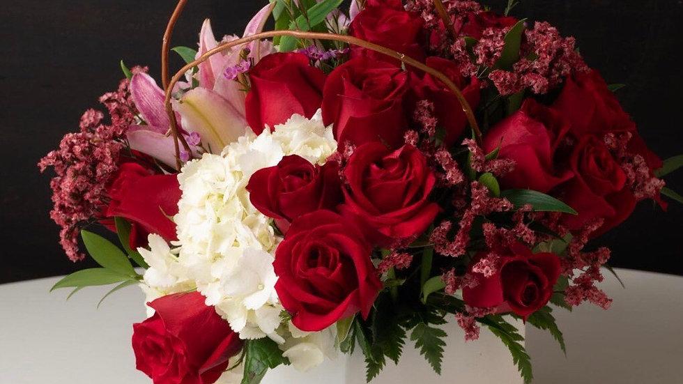 Rosas y hortensias