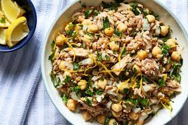 Lemon-Dressed Farro, Tuna and Chickpea Salad