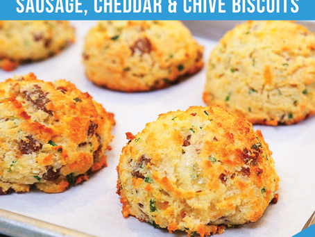 Low Carb Sausage, Cheddar and Chive Breakfast Biscuits