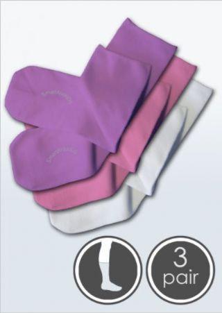 3 Pairs Absolutely Seamless Socks -SmartKnitKIDS Pink/Purple/White