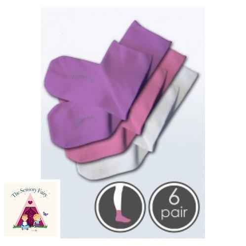 6 pairs Absolutely Seamless Socks Pink/Purple/White