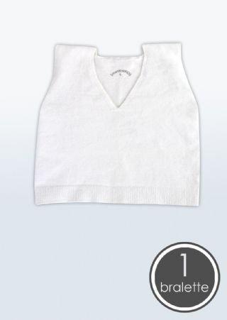 SmartKnitKIDS seamless Bralette / Crop vest, White