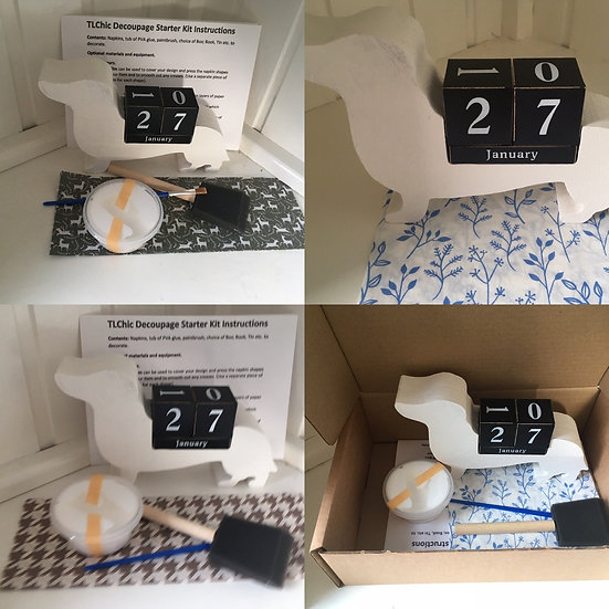 Decoupage Dachshund Perpetual Calendar kit