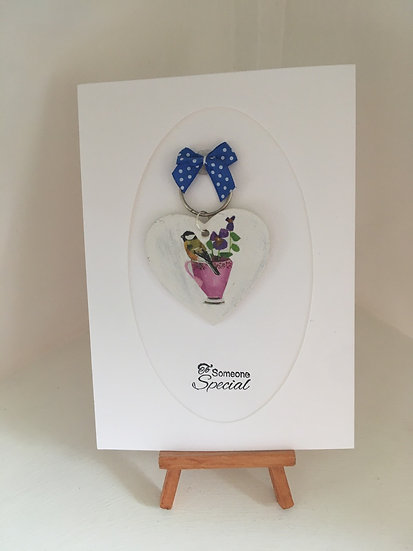 Shabby chic viola and bird Keyring on a card