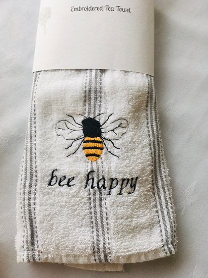 OUT of  STOCK Bee Happy Tea Towel