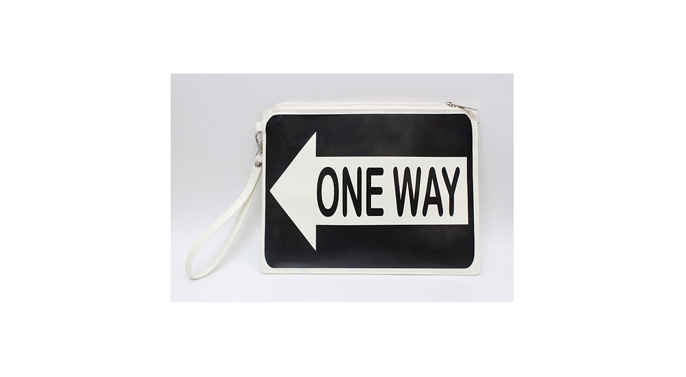 bag and wallet # onway traffic sign, keeps people in the right direction