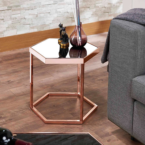 Rose Gold Hexagonal Mirror Side Table