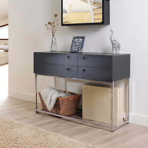 High-Quality Metal With Both Side Drawers Console Table