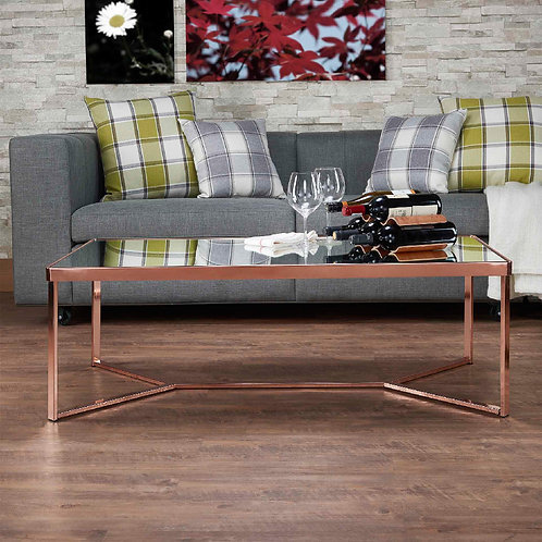 Rectangular Rose Gold Mirror Coffee Table
