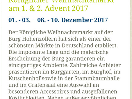 Weihnachtsmarkt auf der Burg.. Ihr findet mich am 1. Advent auf dem Hohenzollern 🏰