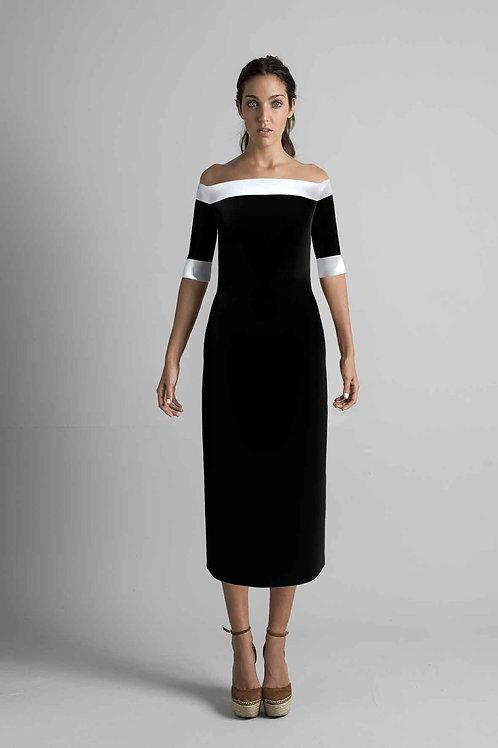 Vestito lungo con scollo Bardot 181120-24