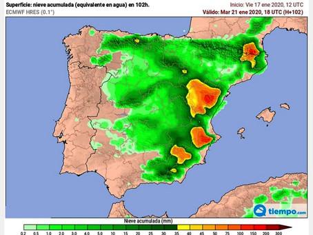 Se confirman los pronósticos: mucha nieve en la Comarca del Noroeste de la Región de Murcia.