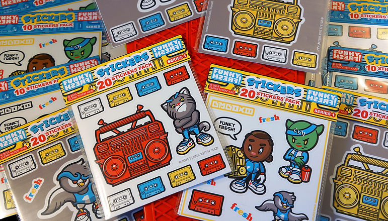 funky fresh stickers, hip hop stickers, b-boy sticker, elena kaziboombox stickers, cassette