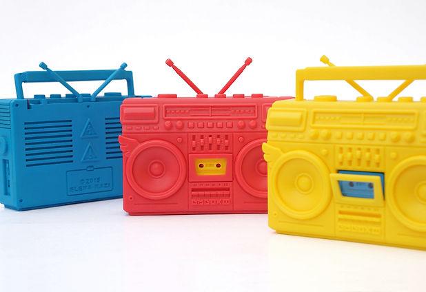 "alt=""BMBOX III"",alt=""elena kazi"", BMBOX III, Elena Kazi, boombox toy, ghetto blaster miniature, resin boombox, music art toy, hip hop toy, designer toy, cassette toy"