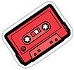 tape sticker, cassette sticker