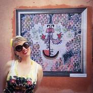 Heul Doch, tableau brodé, collage d'impr