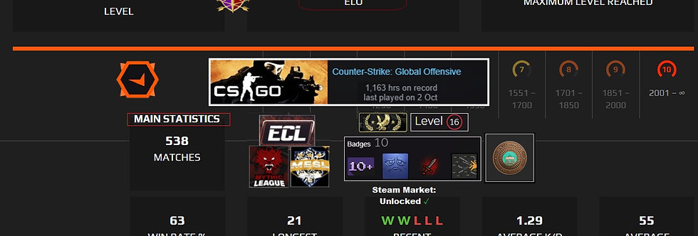 💥Faceit 3,378 Elo | 537 Matches | Market Enabled | 1,163 Hours | Instant Dl.