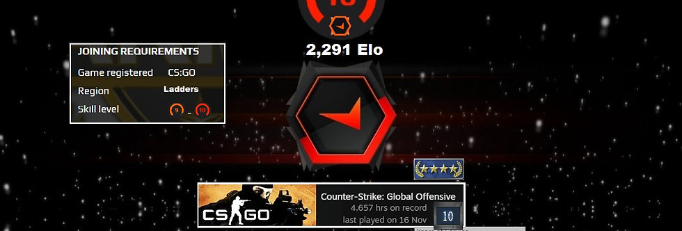 '10 Faceit 2,291 Elo   1.74 K/D   4,657 Hours   Verified   Instant Delivery