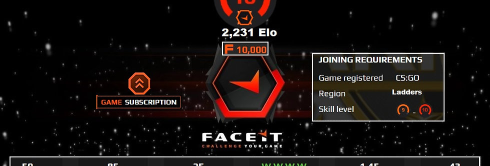 Faceit 2,231 Elo | 1.45 K/D | 10,000 Points | +Premium | Instant Delivery