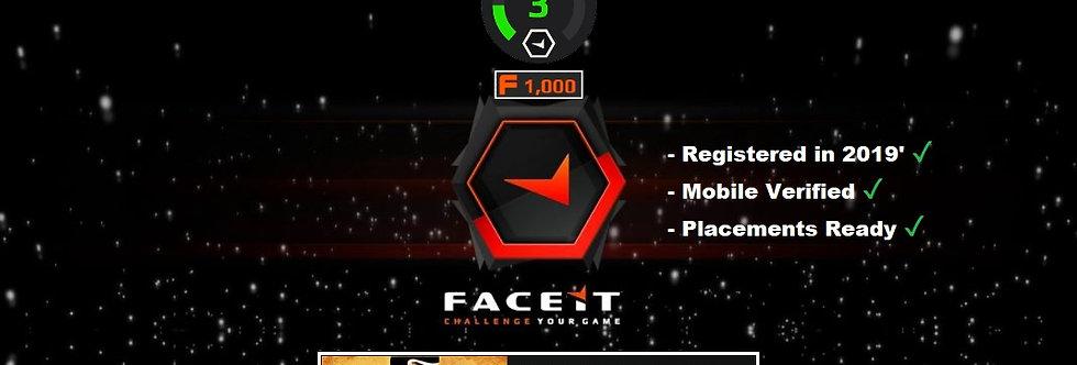 '20 Fresh Faceit Level 3 ✔️ CS:GO 100+ Hours ✔️ Phone Verified ✔️Instant