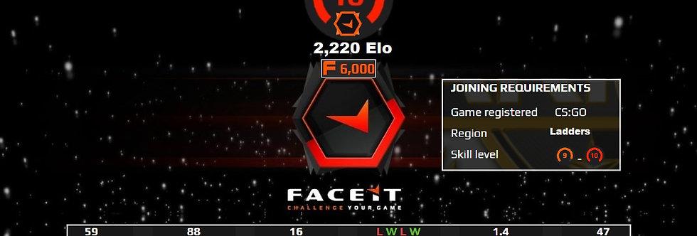 Faceit 2,220 Elo | 6,000 Points | 1.40 K/D | Verified | Instant Delivery