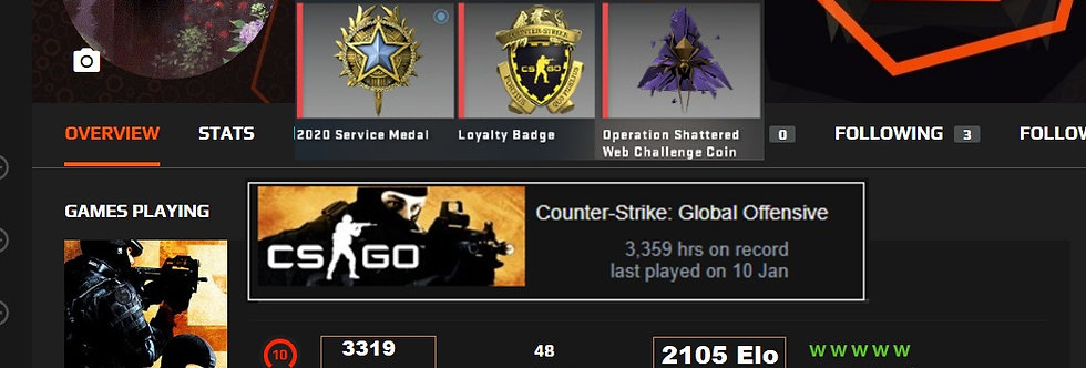 🥇🏆 Faceit 2105 Elo | 3,319 Matches | 3 Medals | 3,359 Hours | Instant Delivery